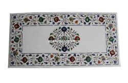 Adorable White Marble Dining Table Top Inlay Multi Floral Mosaic Art Decor H3837