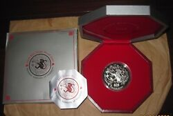 2004 Singapore 25 D 5oz Yr. Monkey Proof Lunar Silver Coin With Coa And Box Rare
