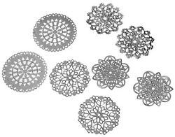 Antique Silver Floral Filigree Stamping Jewelry Furniture Applique Scrap Booking