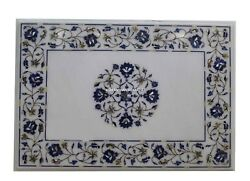 White Marble Dining Table Top Lapis Mop Inlay Floral Art Kitchen Decorates H3818