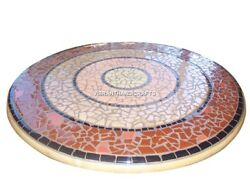 Round White Marble Fabulous Top Dining Table Mosaic Inlay Art Stone Decors H3853