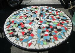Black Marble Dining Top Table Multi Stone Mosaic Inlay Art Living Decors H3822