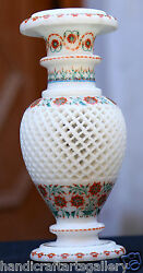 9 White Marble Antique Flower Vase Semi Mosaic Inlay Marquetry Gifts Art H1956