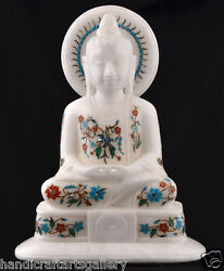 12 White Antique Marble Buddha Status Inlay Religious Collectible Gifts H2247