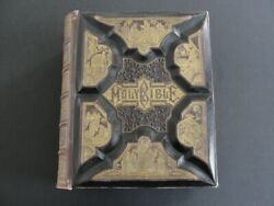 Victorian-era Parallel-column Holy Bible Leather Bound With Color Plates