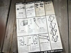 Vintage Antique Bike Bicycle Parts Poster Guide Raleigh Sturmey Archer