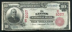 1902 10 Rs The Lyons National Bank Of New York National Currency Ch. 1027