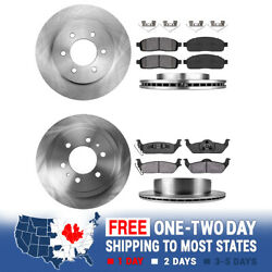 Front + Rear Rotors Ceramic Pads For 2004 2005 2006 2007 2008 Ford F150 4x4 4wd