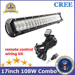 108w 17'' Led Light Bar +remote Control Wiring Off Road Tractor F150 Chevy 4wd