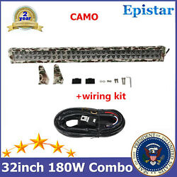 180w 32inch Led Light Bar Camo 6000k+wiring Harness Wrangler Ford Tractor Ip67