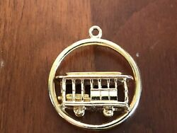 Vintage 14k Solid Yellow Gold San Francisco Cable Car Charm Trolley 3d