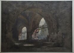 Beautiful Interior Of Cloister - Stone Black And Gouache - Beautiful Format