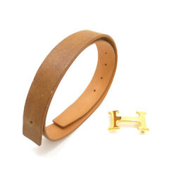 Authentic Hermes H Buckle Reversible Belt 75 Leather 32mm E In Square S211004