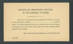 1928 New England Telephone And Telegraph Advises Change Of Phone On Yellow-----