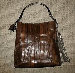 Henry Beguelin Logo Leather Tassel Tote Bag - Brown Wood Design - Unused w Tags