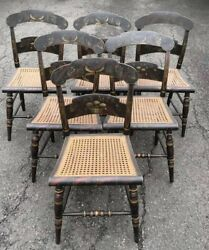 Set Of 19th Century Hitchcock Dining Chairs Spectacular Paint Decoration Signed