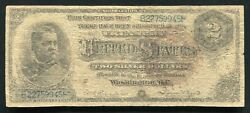 """Fr. 242 1886 2 Two Dollars """"hancock"""" Silver Certificate Currency Note"""