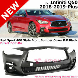 For 18-19 Infiniti Q50   Red Sport Style Front Bumper Conversion Foglight Covers