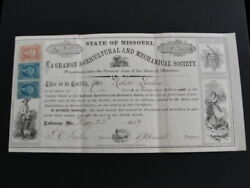 1869 Lagrange Agricultural And Mechanical Society Stock Certificate Missouri