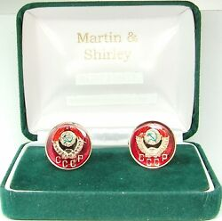 Russia Cufflinks Made From Early Cccp Russian Coins In Red And Gold And Colours 17mm