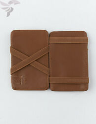 RVCA Mens 100% Leather Magic Wallet Tan One Size New Rare 5 card holder design