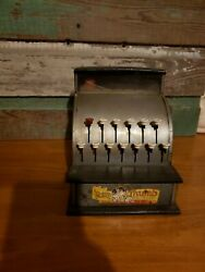 Vintage Tom Thumb Silver Toy Cash Register Works Well