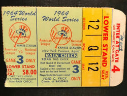 1964 World Series Ticket Gm 3 Mickey Mantle Walk-off Hr 16 Top Babe Ruth Record