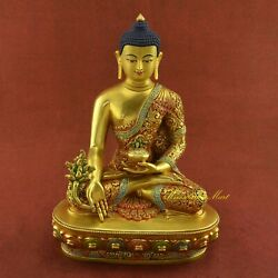 """Carved Painted 11"""" Medicine Buddha / Sangye Menla Copper Statue From Patan Nepal"""