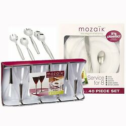 Mozaik 40-piece Plastic Party Dinnerware Set White/silver--service For 8