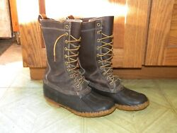Vintage Ll Bean Tall Duck Boots Leather Maine Hunting 6 Mens 20 Eyelet Brown