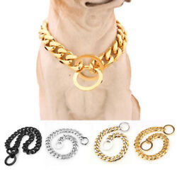 Cuban Link Thick Gold Chain Pets Safety Collar Adjustable Length