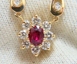 Gia Certified 1.06ct Natural Ruby And 1ct Diamonds Necklace 14 Karat