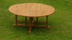 7-piece Outdoor Teak Dining Set 72 Round Table 6 Stacking Arm Chairs Goa