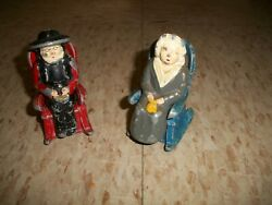 Antique Salt And Pepper Set Cast Metal Amish Man And Woman In Rocking Chairs