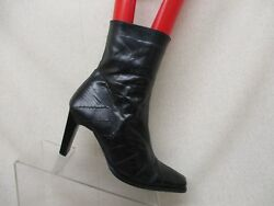 Beckir Designer Black Leather Side Zip Ankle Fashion Boots Bootie Size 9 M