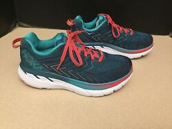 Womens Hoka One One Clifton 4 TealPink Running Shoes. Size 7D Wide. Nice Shoes!