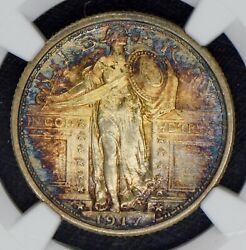 1917 Standling Liberty Type 1 Quarter 25c Ngc Ms64 Fh Must See Toning