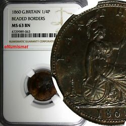 Great Britain Victoria 1860 Farthing Beaded Border Ngc Ms63 Bn Km 747.2