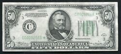 Fr.2102-c 1934 50 Fifty Dollars Star Frn Philadelphia, Pa About Uncirculated