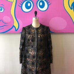 Valentino Size 14 Black Lace Silk Lined Leather Trim Evening Coat