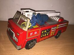 Maybe Yonezawa B/o 10 Fire Dept Truck Vintage Tin Toy Made In Japan