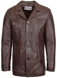 Mens Brown Genuine Leather Jacket Classic Buttoned Soft Blazer Mac Coat New