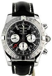 Breitling Chronomat GMT 44mm on Calf Deployant Open Warranty AB042011BB56