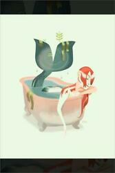 Mermaid In The Bath Animated Limited Edition Art Giclee Print