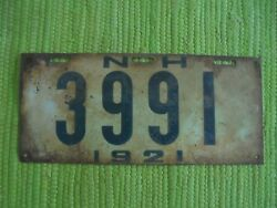 1921 New Hampshire License Plate 21 Nh Tag 3991
