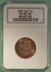 1913 Canada Large Cent - Graded Ngc Ms-65 Rb - 604483-006