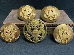 Vtg Ww2 Us Army Military Eagle Shako Plate Officer Hat Insignia Screw Back Pins
