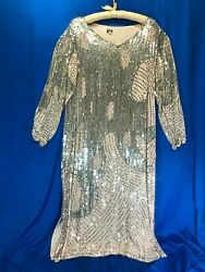 Vgc Vtg 1920and039s/flapper-style Champagne Pink Silk/rayon-lined Vneck Dress Lrg