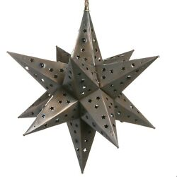 Handmade Mexican Hanging Tin Star Light - Star Cut With Marbles