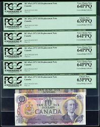 6 Consec. 1971 Bank Of Canada 10 Replacement Notes Da - Pcgs New Unc63/64 Ppq